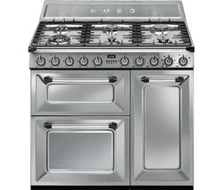 SMEG Victoria TR93X 90 cm Dual Fuel Range Cooker - Stainless Steel