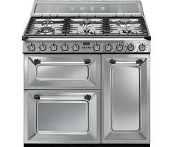 SMEG Victoria TR93X 90 cm Dual Fuel Range Cooker - Stainless Steel