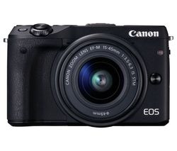 CANON EOS M3 Compact System Camera with 15-45 mm f/3.5-6.3 Wide-angle Zoom Lens - Black