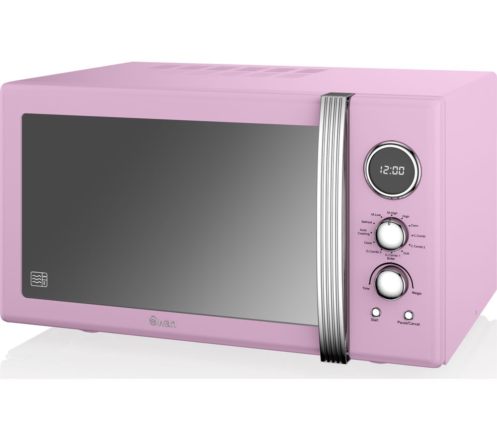 Pink Small Kitchen Appliances Buy Swan Sm22080pn Retro Microwave With Grill Pink Free