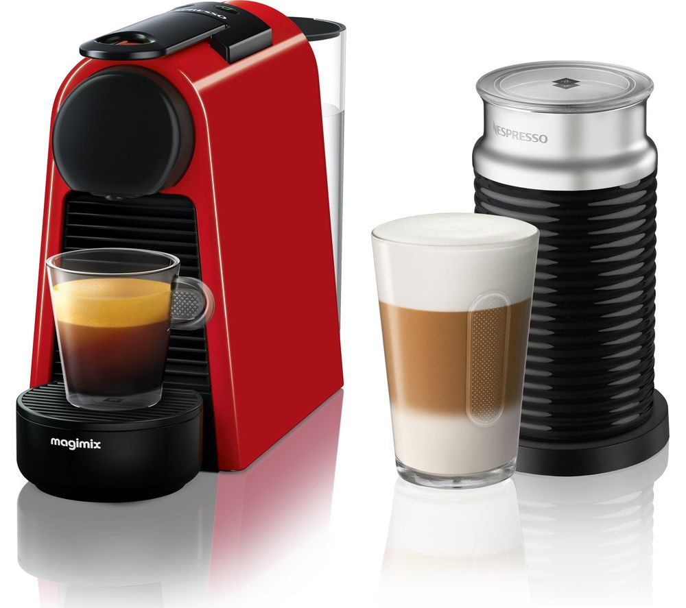 NESPRESSO by Magimix Essenza Mini Coffee Machine with Aeroccino  Ruby Red Red