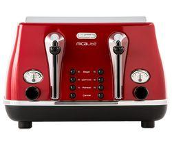 DELONGHI Micalite CTOM4003R 4-Slice Toaster - Red