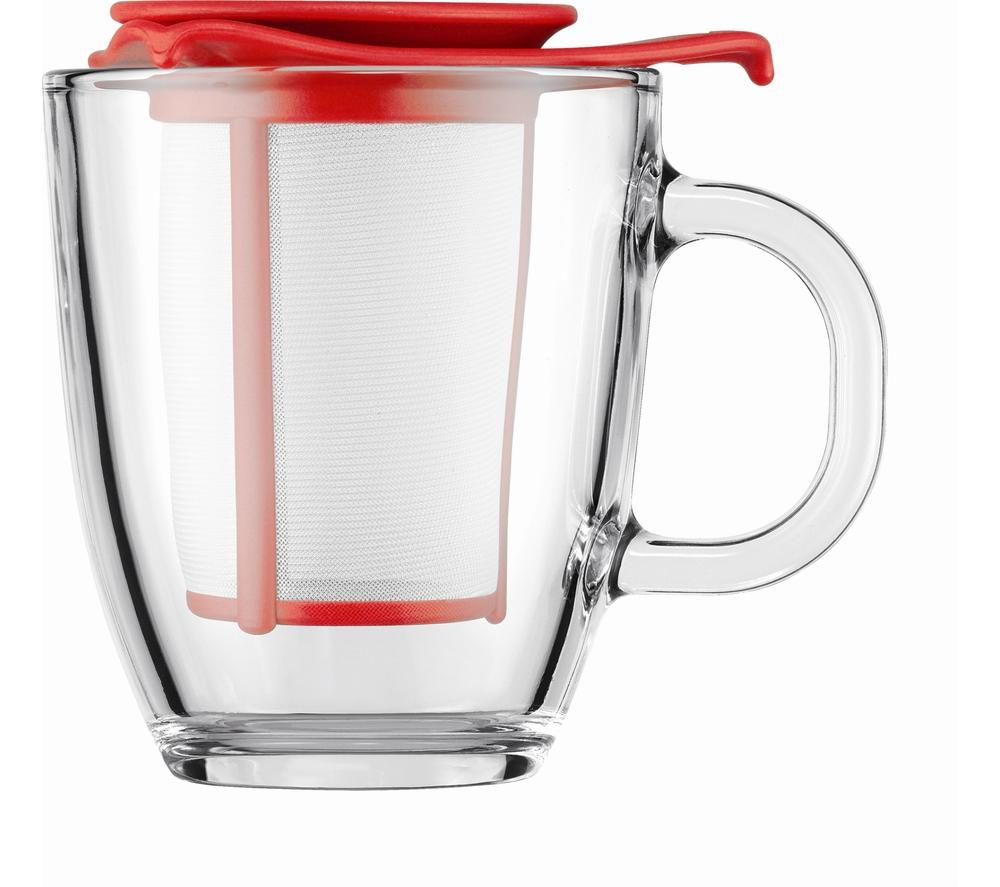 BODUM  Yo Yo Mug & Tea Strainer Set  Red Red