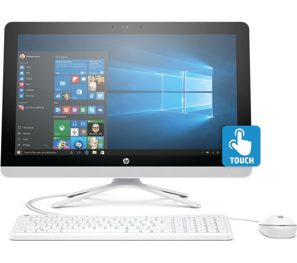 "HP 22-b065na 21.5"" Touchscreen All-in-One PC - White + Office 365 Personal"