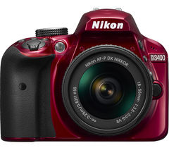 NIKON D3400 DSLR Camera with 18-55 mm f/3.5-5.6 VR Zoom Lens - Red