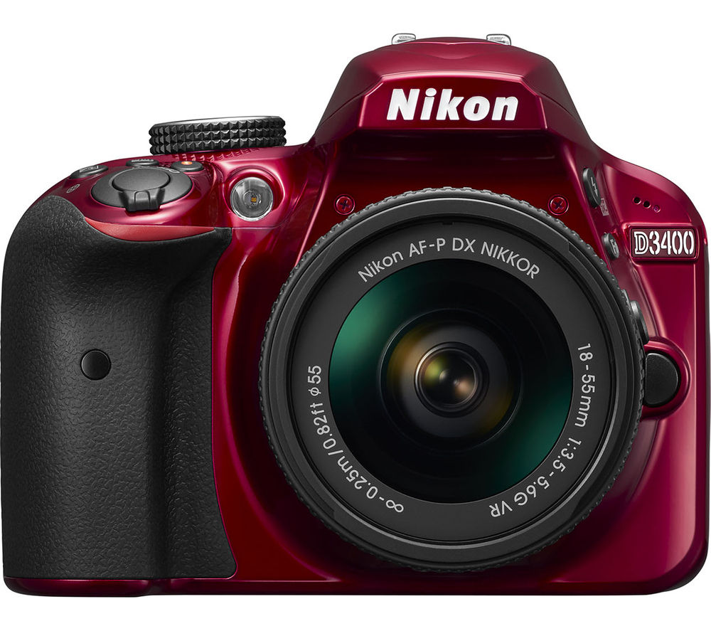 Nikon NIKON  D3400 DSLR Camera with 18-55 mm f/3.5-5.6 VR Zoom Lens - Red, Red