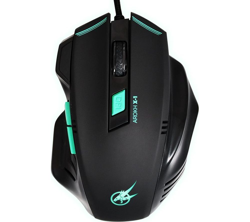PORT DESIGNS Arokh X-1 Optical Gaming Mouse - Black & Green