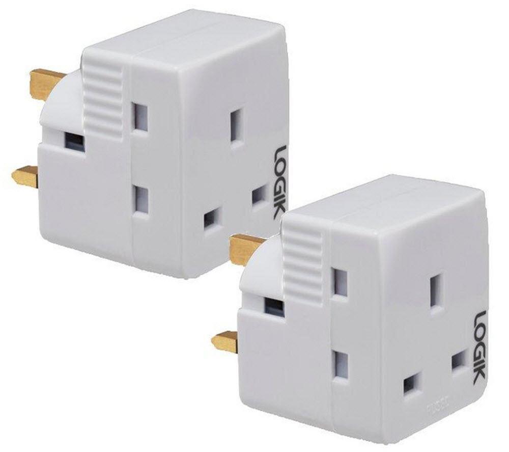LOGIK L3WAYPT13 3-Way Adapter Twin Pack