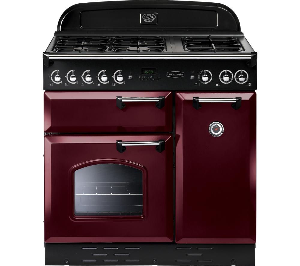 RANGEMASTER Classic 90 Gas Range Cooker - Cranberry & Chrome