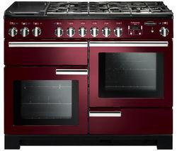 RANGEMASTER Professional Deluxe 110 Dual Fuel Range Cooker - Cranberry & Chrome