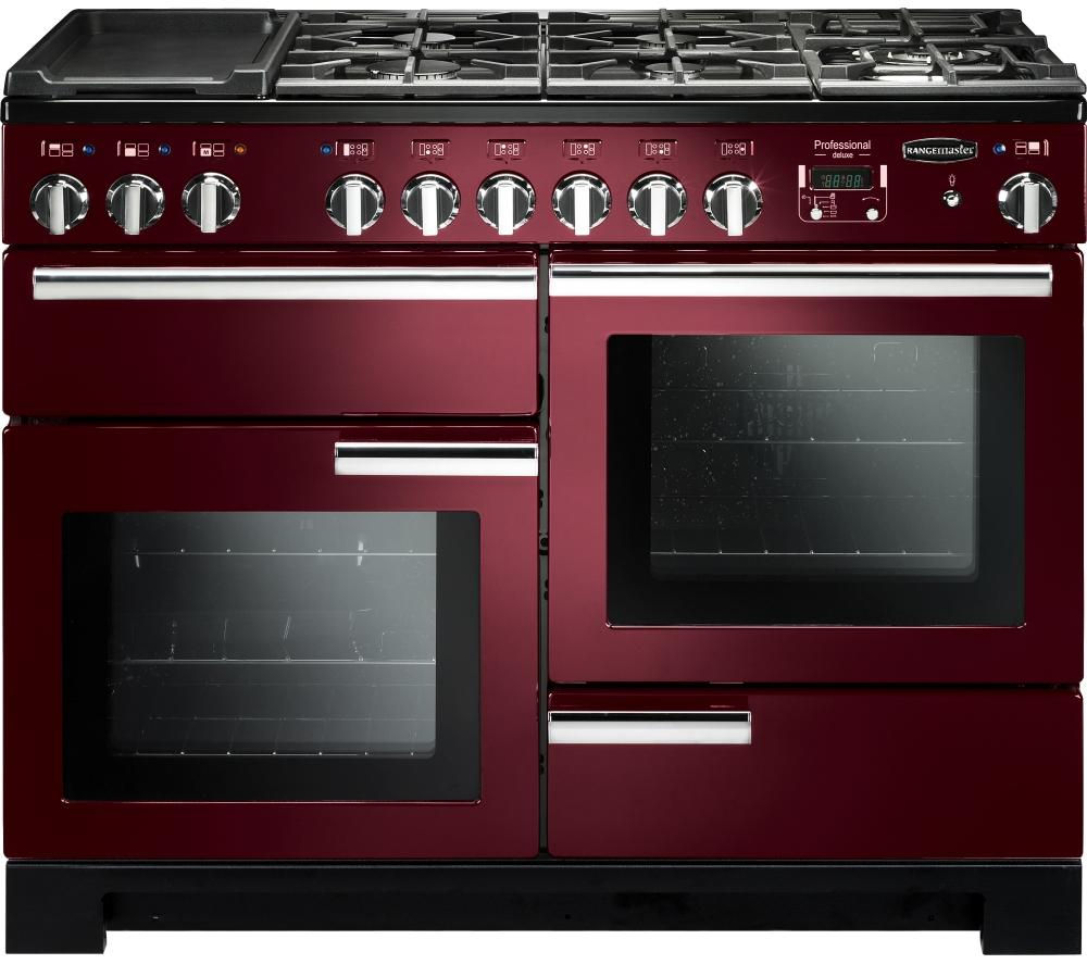 RANGEMASTER Professional Deluxe 110 Dual Fuel Range Cooker - Cranberry & Chrome