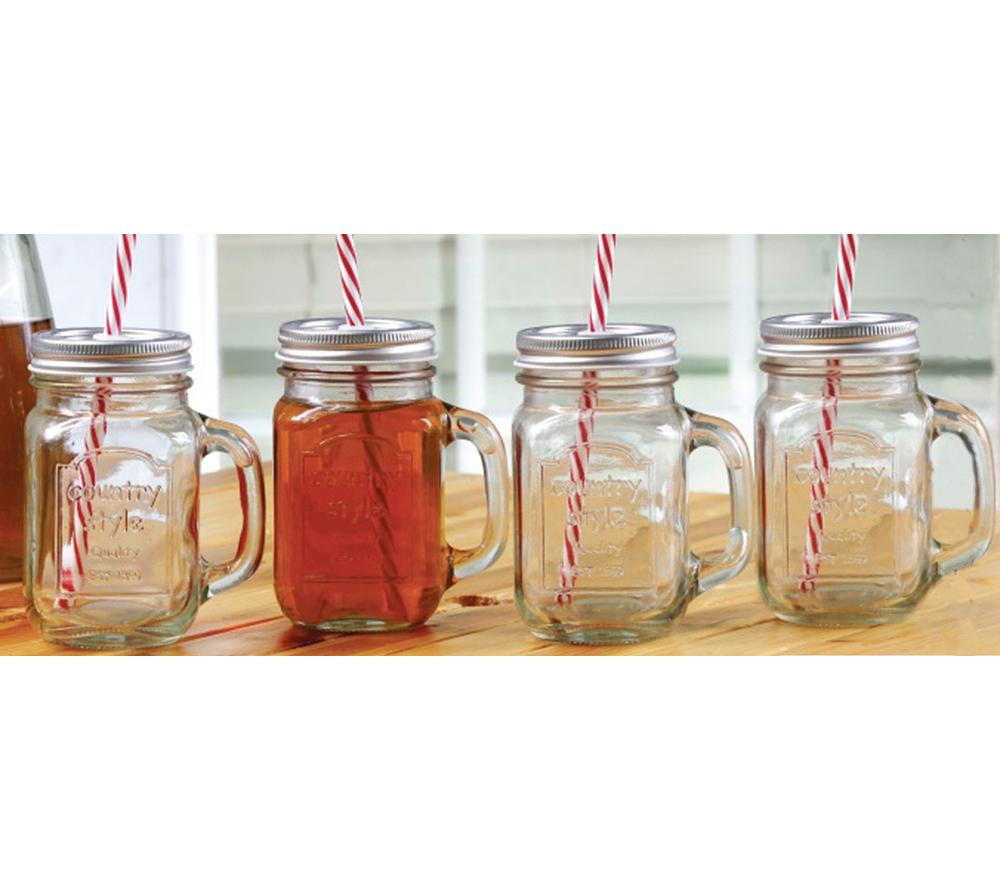 EDDINGTONS Country Mason Jar Mugs - 4 Piece Set
