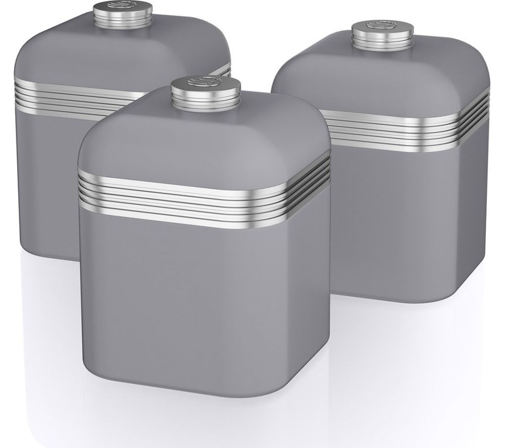 Swan Retro Swka1020grn 1-litre Canisters - Grey, Pack Of 3, Grey