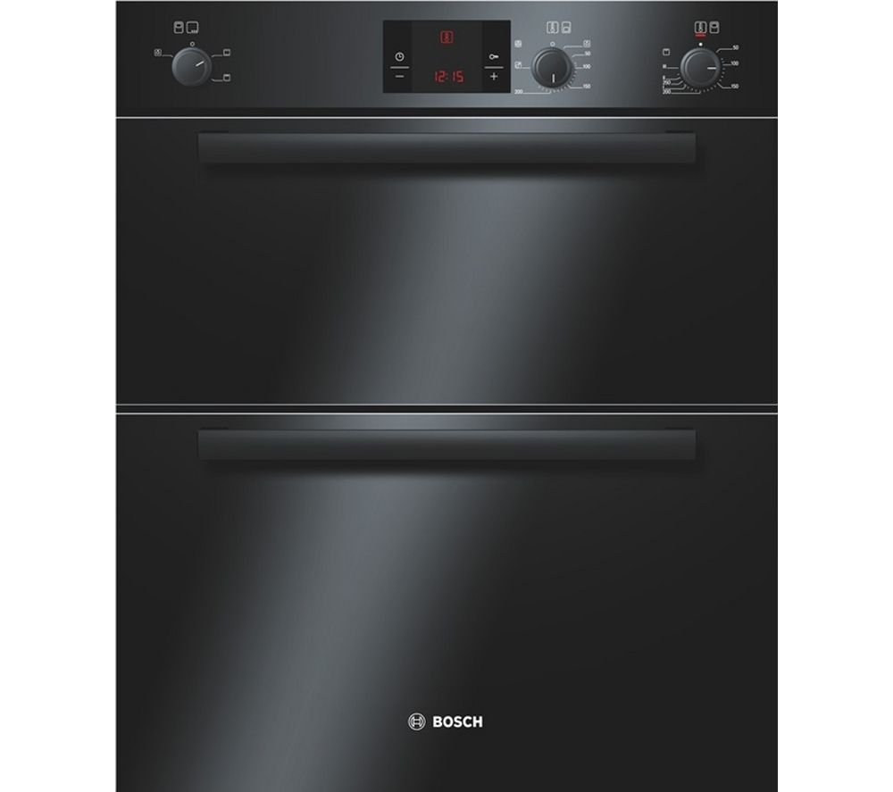 BOSCH  HBN13B261B Electric Built-under Double Oven - Black +  PBH6B5B60 Gas Hob - Stainless Steel