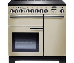 RANGEMASTER Professional Deluxe 90 Electric Induction Range Cooker - Cream & Chrome