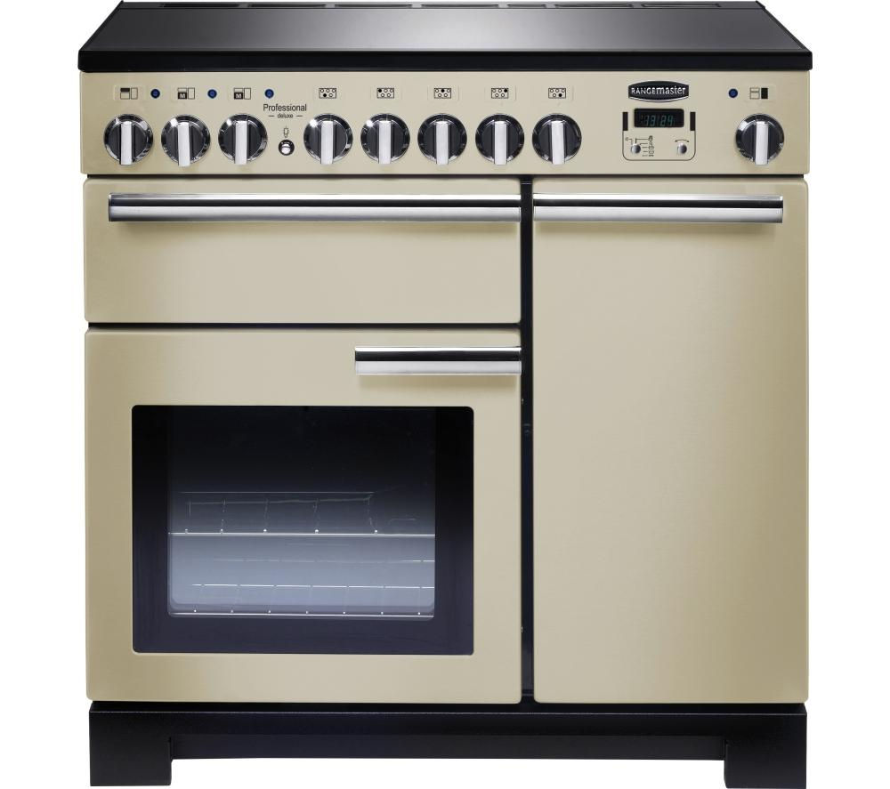 RANGEMASTER Professional Deluxe 90 Electric Induction Range Cooker - Cream & Chrome
