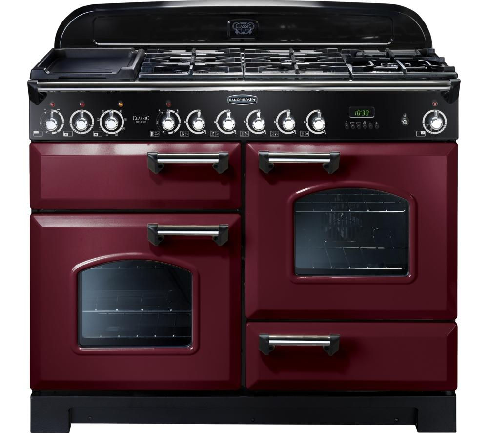 Rangemaster Classic Deluxe 110 Dual Fuel Range Cooker  Cranberry & Chrome Cranberry