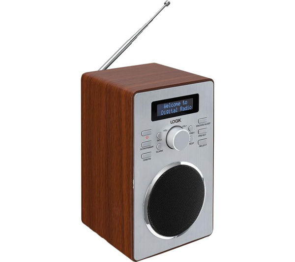 logik lbdab14 dab clock radio wood pc world business. Black Bedroom Furniture Sets. Home Design Ideas