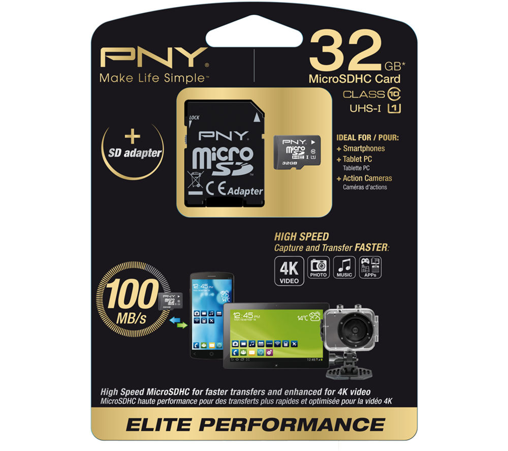 Pny Elite Performance Class 10 microSD Memory Card  32 GB