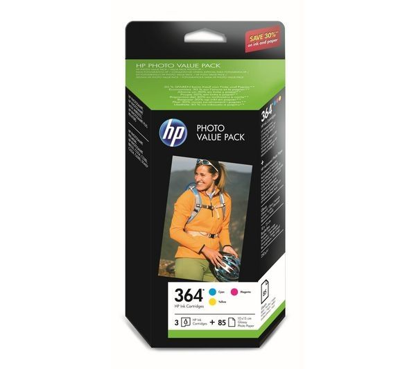 buy hp 364 cyan magenta yellow ink cartridges with photo paper value pack free delivery. Black Bedroom Furniture Sets. Home Design Ideas