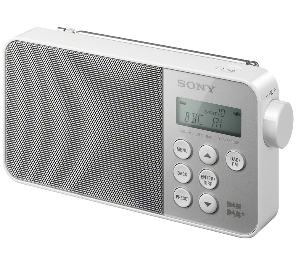 buy sony xdrs40dbpw portable dab clock radio white free delivery currys. Black Bedroom Furniture Sets. Home Design Ideas