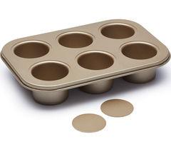 PAUL HOLLYWOOD PHBB102 6-hole Non-stick Deep Baking Tin - Gold