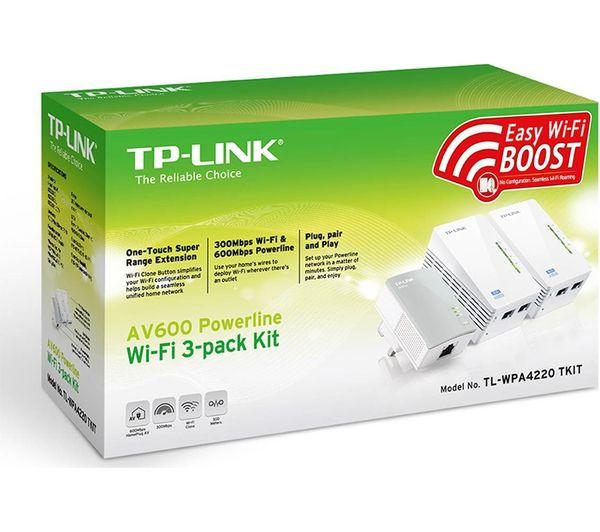 buy tp link tl wpa4220t wireless powerline adapter kit av600 triple pack free delivery currys. Black Bedroom Furniture Sets. Home Design Ideas