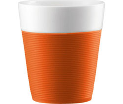 BODUM Bistro Porcelain Mug with Silicone Band - Orange, Pack of 2