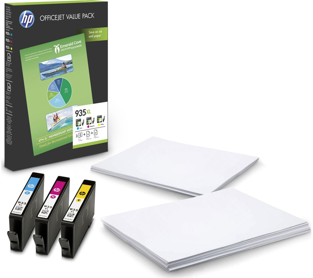 HP 935XL Cyan, Magenta & Yellow Ink Cartridges with Photo Paper - Value Pack
