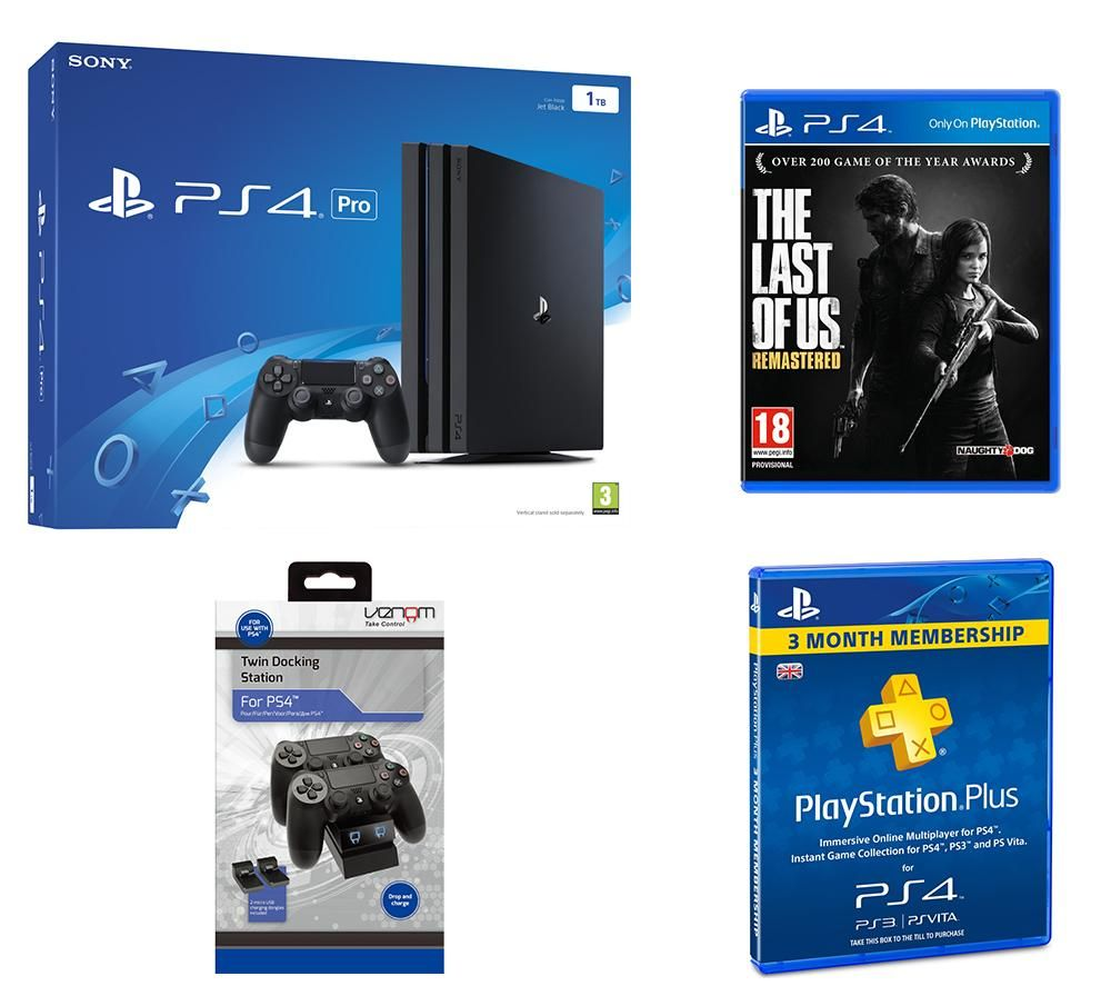 PLAYSTATION 4 Pro The Last of Us Remastered Docking Station & 3 Month PlayStation Plus Subscription Bundle