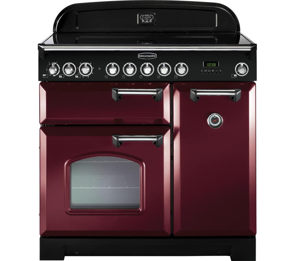 RANGEMASTER  Classic Deluxe 90 Electric Ceramic Range Cooker  Cranberry and Chrome Cranberry