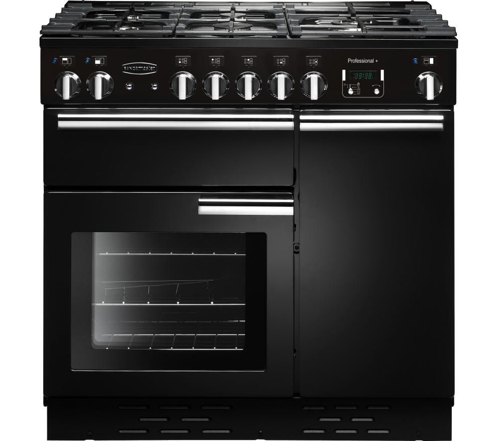 RANGEMASTER  Professional 90 Gas Range Cooker  Black & Chrome Black