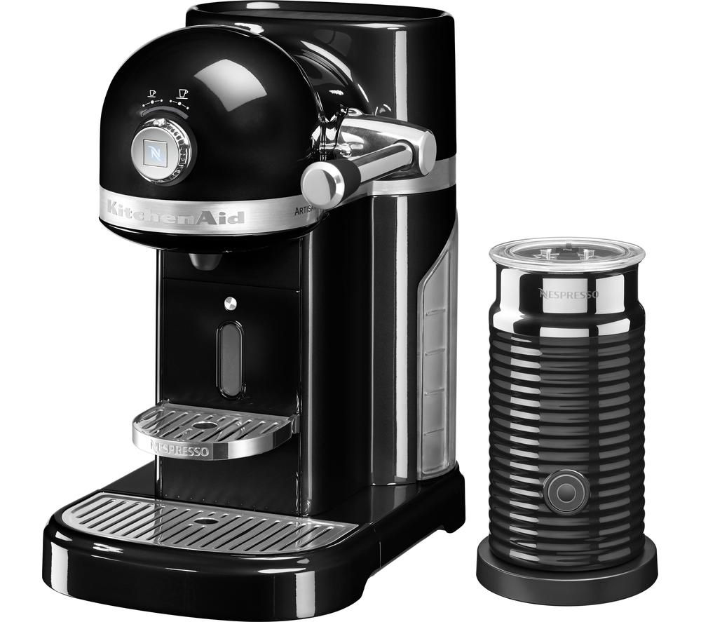 NESPRESSO  Artisan Nespresso Hot Drinks Machine with Aeroccino 3  Onyx Black Black