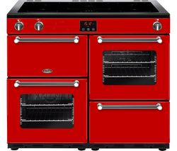 BELLING Kensington 100Ei Electric Induction Range Cooker - Red & Chrome