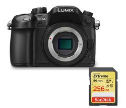 PANASONIC Lumix DMC-GH4RE-K Compact System Camera - Black, Body Only