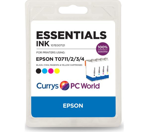 ESSENTIALS T071 Tri-colour & Black Epson Ink Cartridge - Multipack