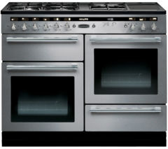 RANGEMASTER Hi-Lite 110 Dual Fuel Range Cooker - Stainless Steel & Chrome