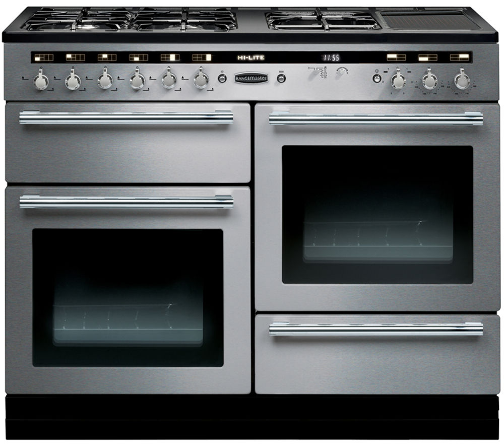 RANGEMASTER  HiLite 110 Dual Fuel Range Cooker  Stainless Steel & Chrome Stainless Steel