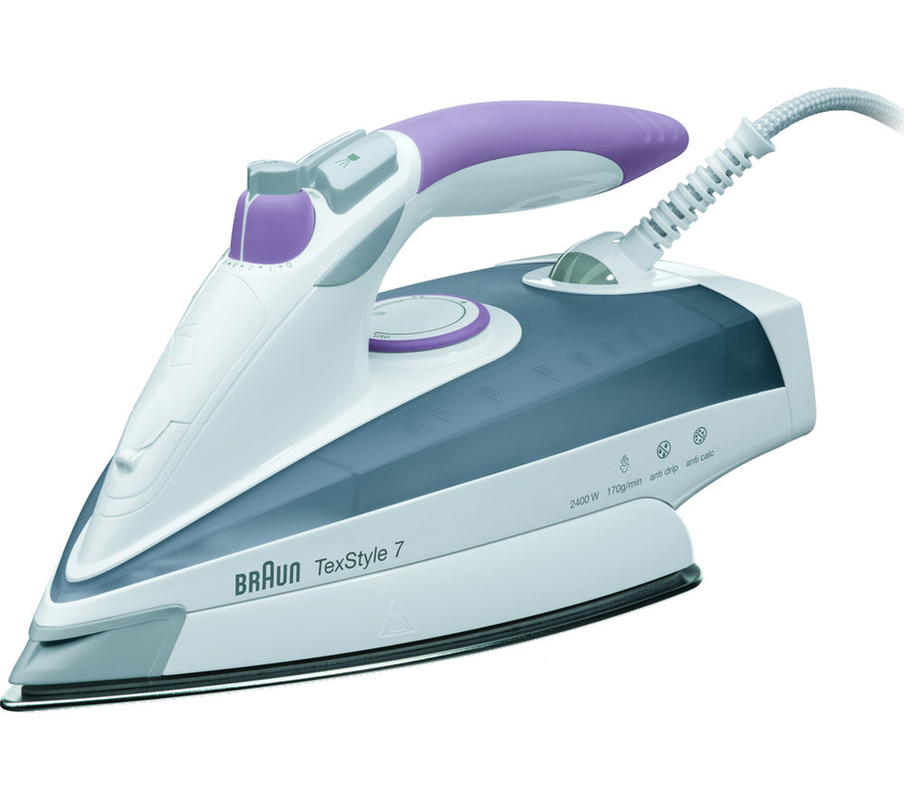 BRAUN  TexStyle 7 TS755 Steam Iron  Grey & Lilac Braun
