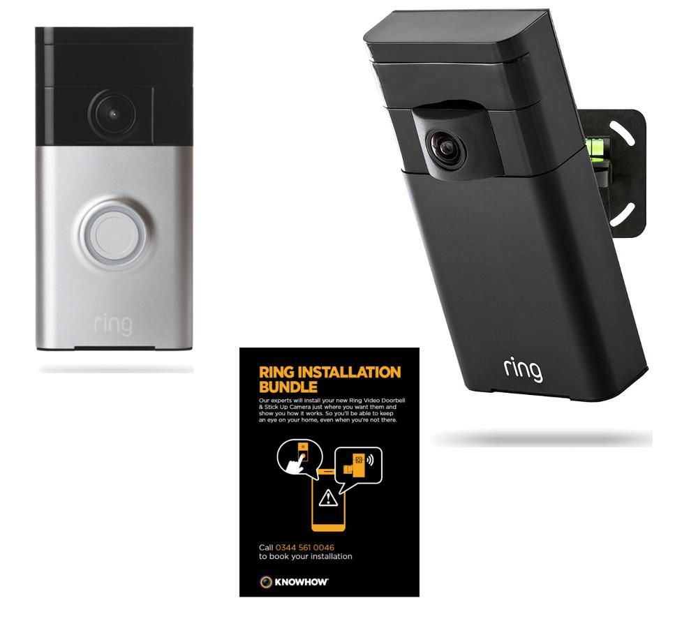 KNOWHOW  Ring Stick Up Camera, Video Doorbell & Installation Bundle.