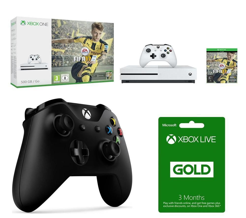 MICROSOFT Xbox One S FIFA 17 3 Month Xbox LIVE Gold Membership & Wireless Controller Bundle Gold
