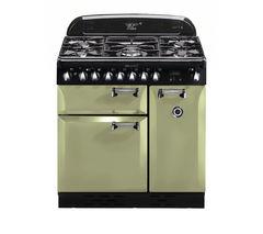 RANGEMASTER Elan 90 Dual Fuel Range Cooker - Olive Green & Chrome