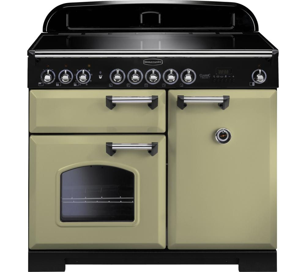 RANGEMASTER Classic Deluxe 100 Electric Induction Range Cooker - Olive Green & Chrome