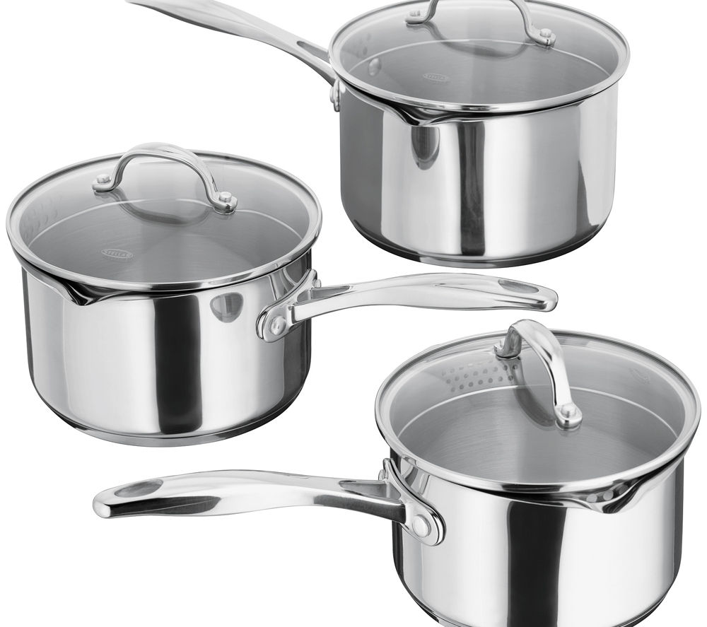 STELLAR S7A1D 7000 3-piece Saucepan Set - Stainless Steel
