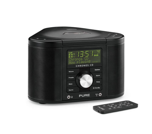 pure chronos cd series ii dab clock radio black deals pc world. Black Bedroom Furniture Sets. Home Design Ideas