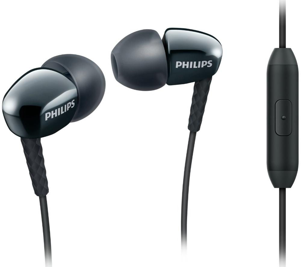 PHILIPS SHE3905 Headphones - Black + iPhone 7 Lightning to 3.5 mm Headphone Jack Adapter
