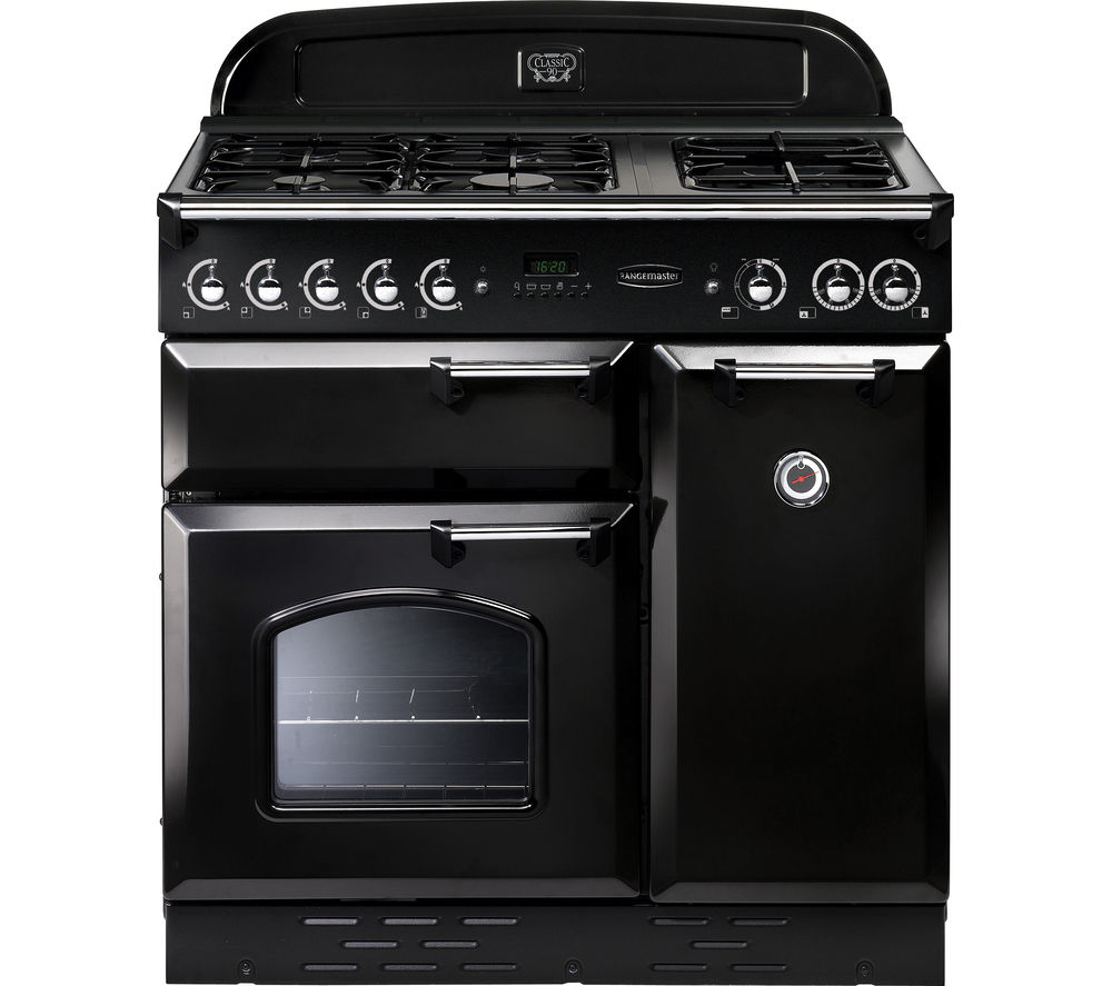 RANGEMASTER Classic 90 Gas Range Cooker  - Black & Chrome