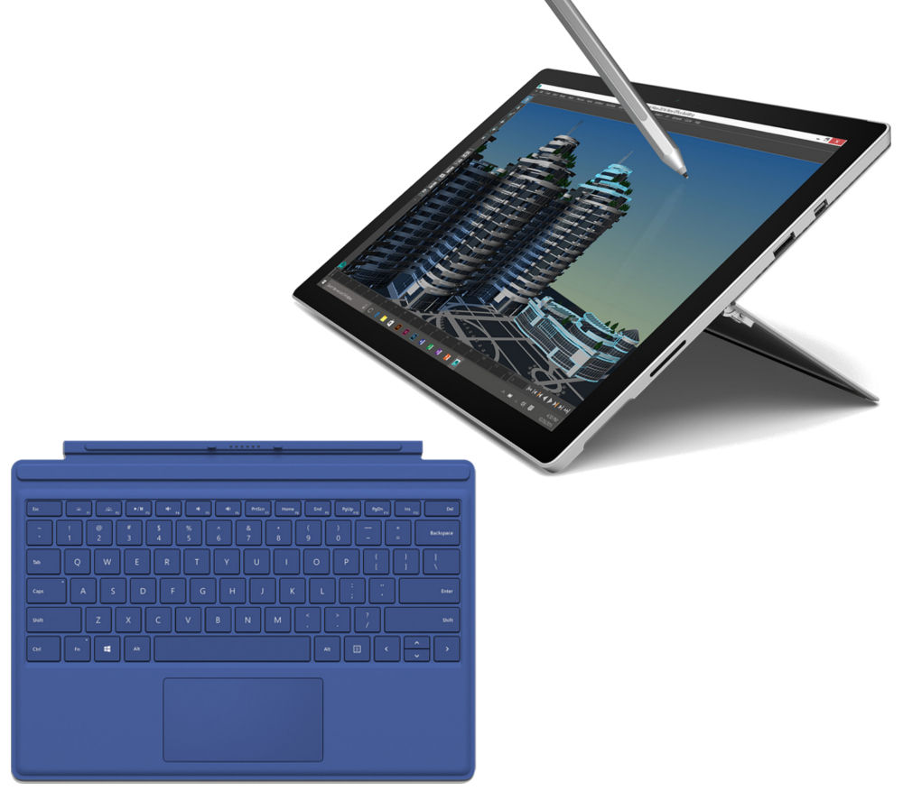 MICROSOFT Surface Pro 4 256 GB & Blue Typecover Bundle