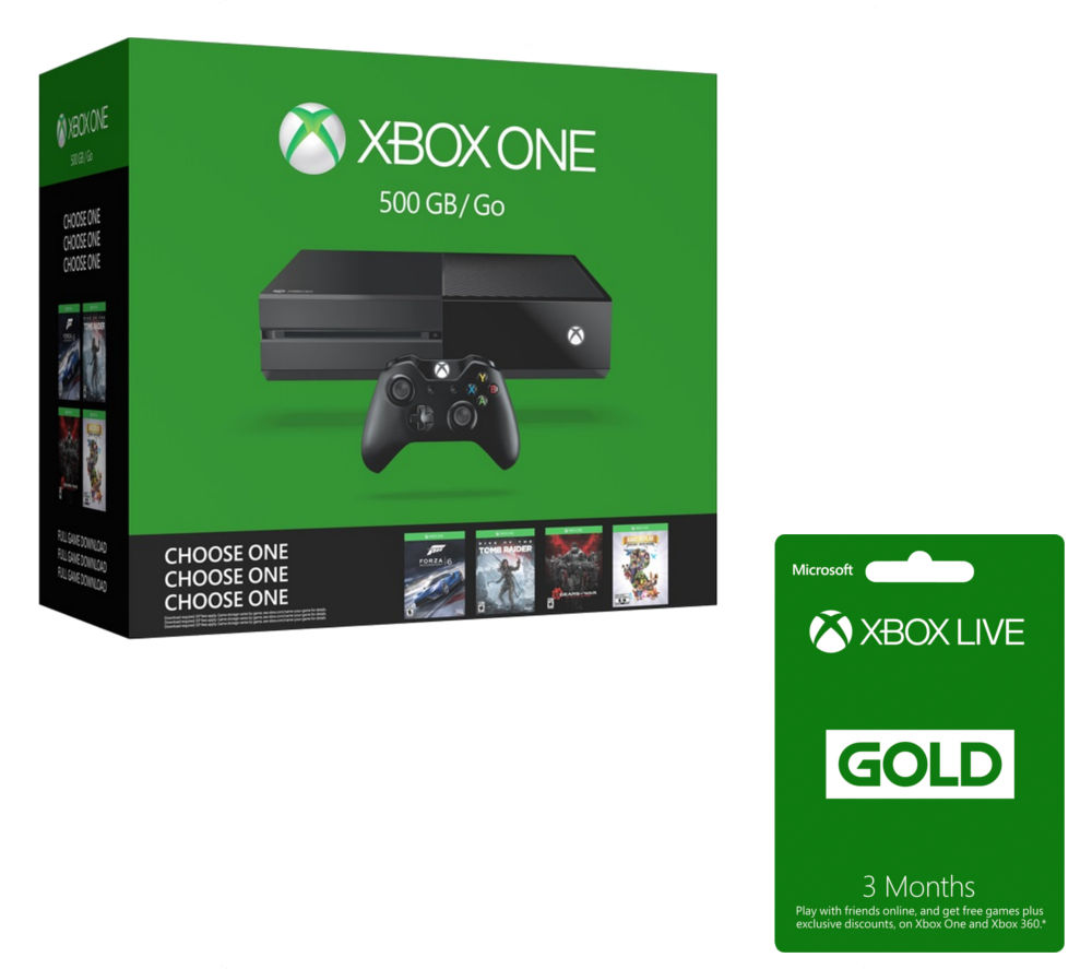 MICROSOFT Xbox One & Xbox LIVE Gold Membership 3 Month Subscription Name Your Game Bundle