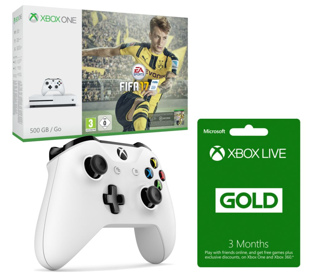 MICROSOFT  Xbox One S with FIFA 17 with Controller & 3 Months Xbox LIVE Gold Membership Bundle  500 GB Gold
